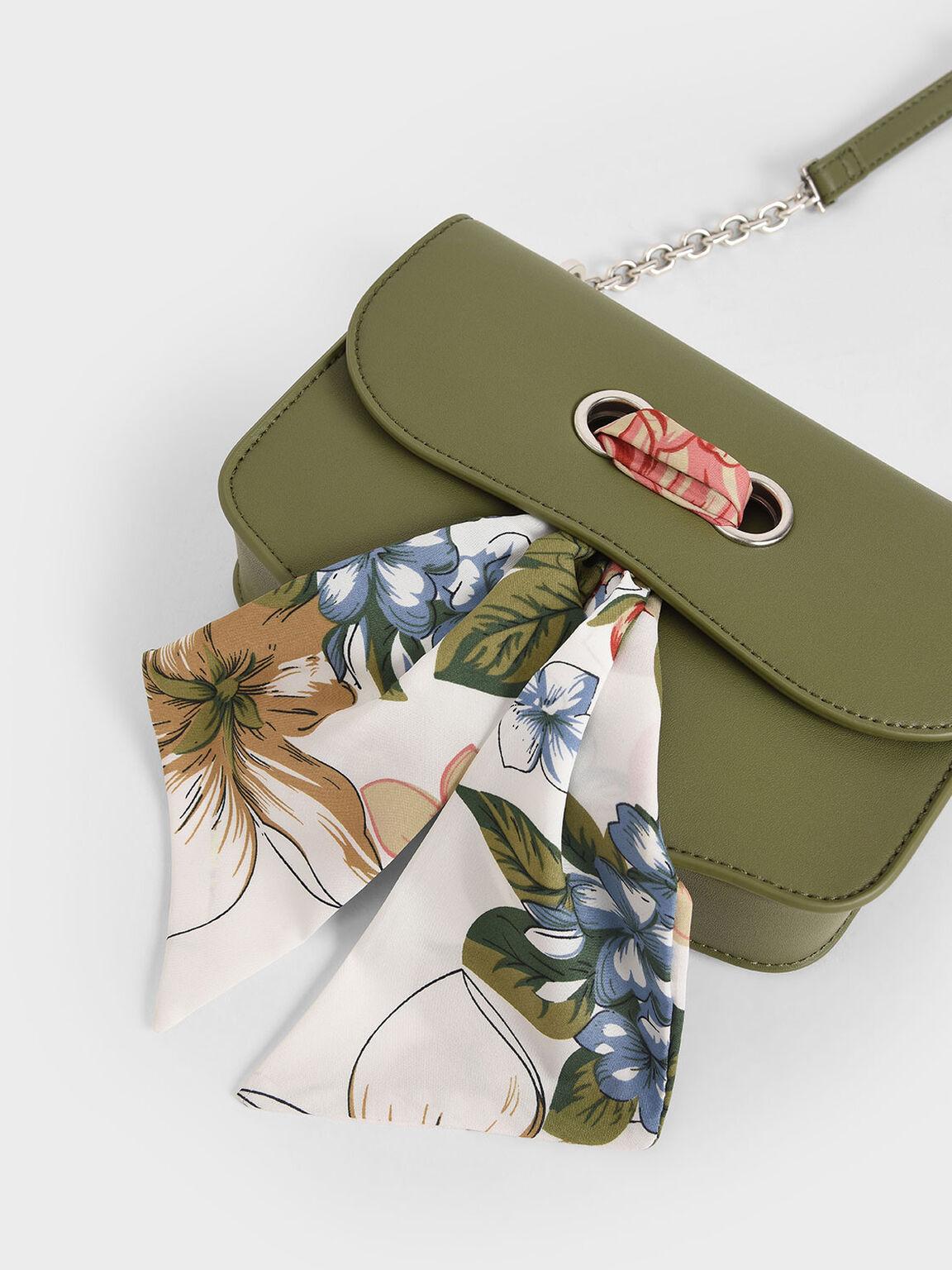 Chiffon Scarf Double Strap Shoulder Bag, Sage Green, hi-res