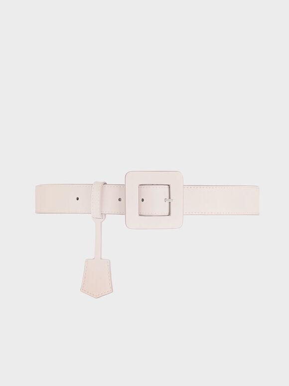 Oversized Buckle Belt, Pink, hi-res