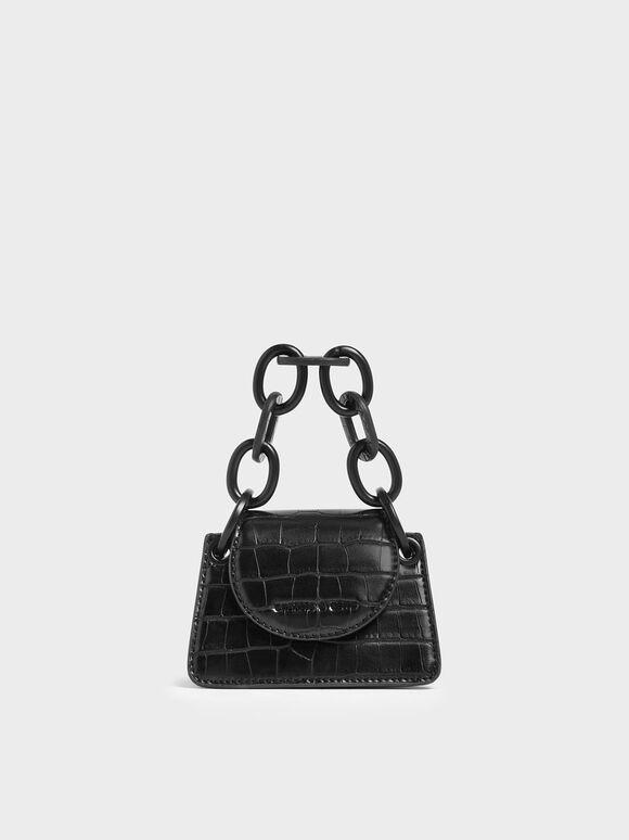 Croc-Effect Chunky Chain Handle Mini Bag, Black, hi-res