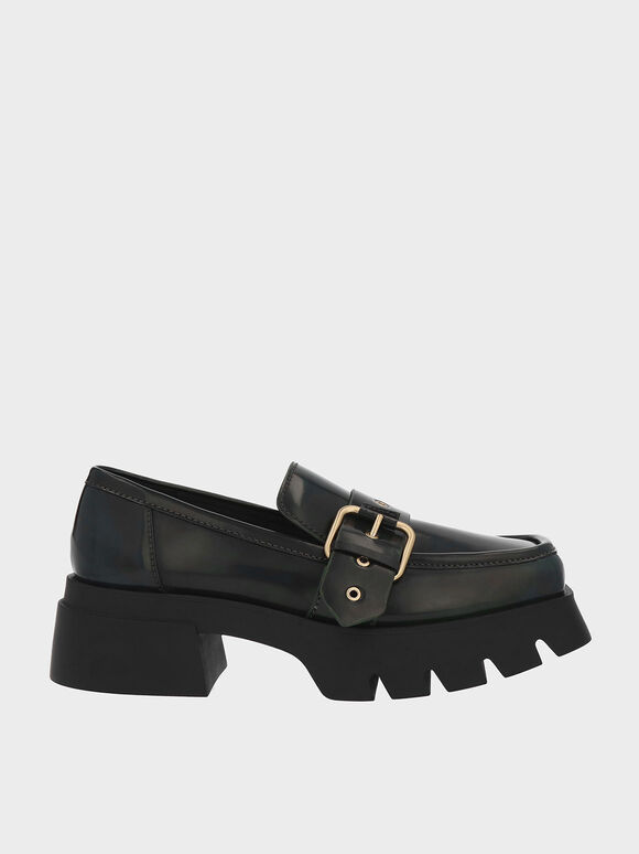 Fay Buckled Chunky Penny Loafers, Green, hi-res