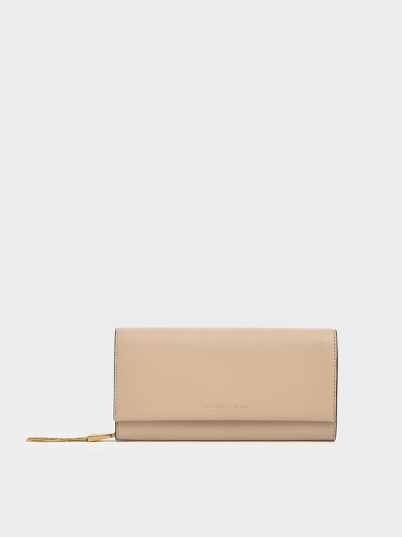 Metal Tassel Classic Long Wallet, Beige, hi-res