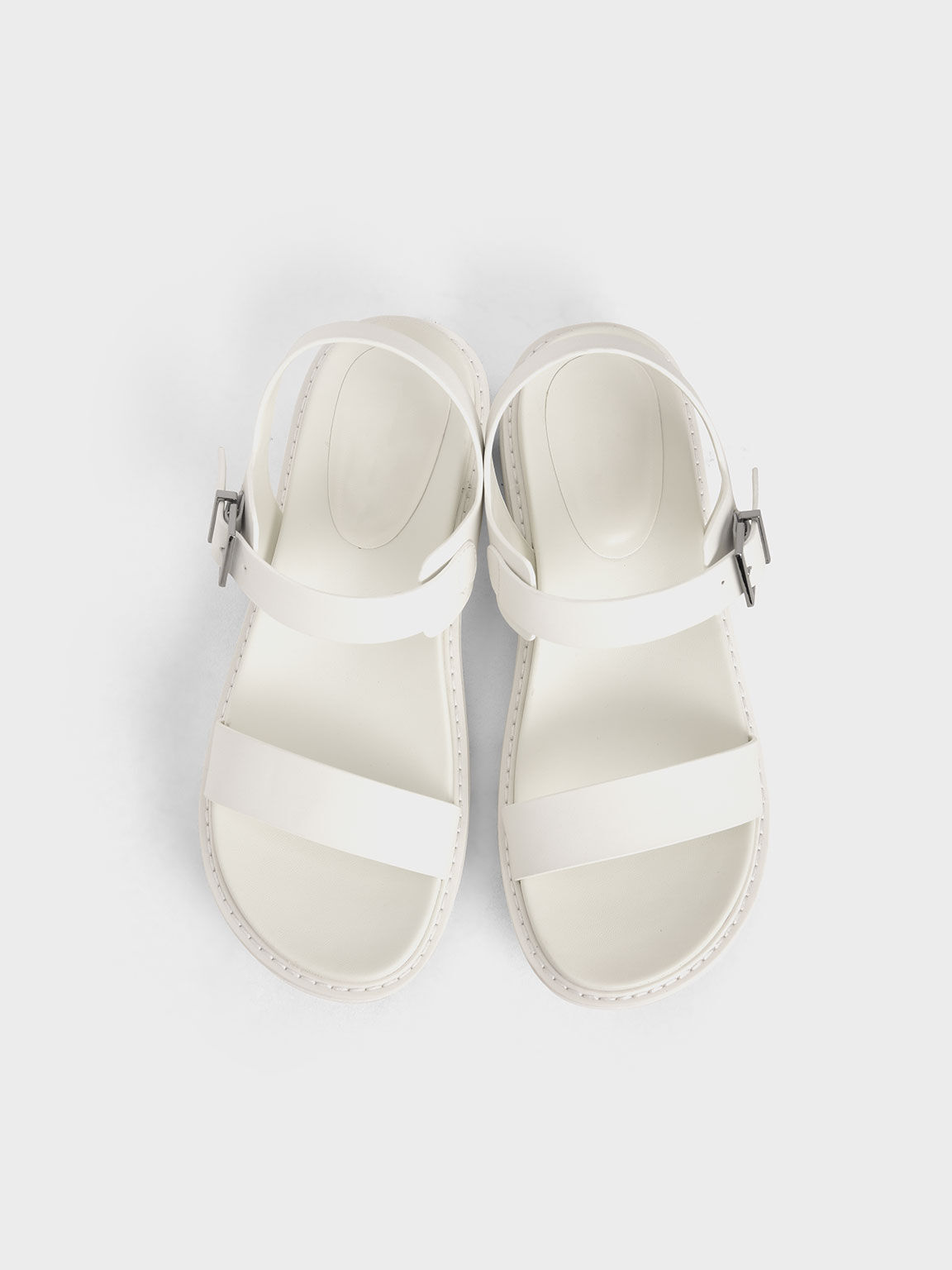 Ankle Strap Sandals, White, hi-res