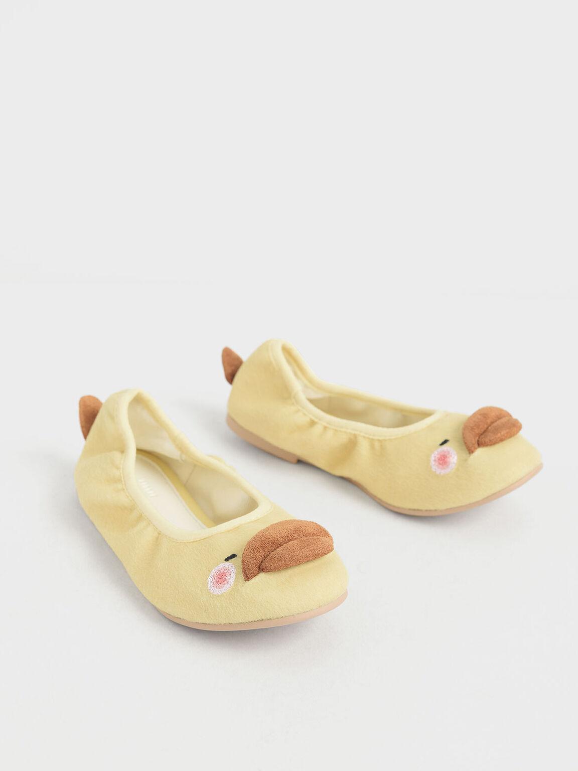 Girls' David The Duck Ballerina Flats, Yellow, hi-res