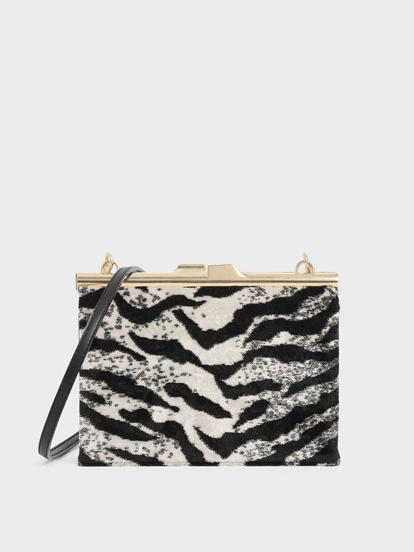 Velvet White Tiger Print Square Clutch, Multi, hi-res
