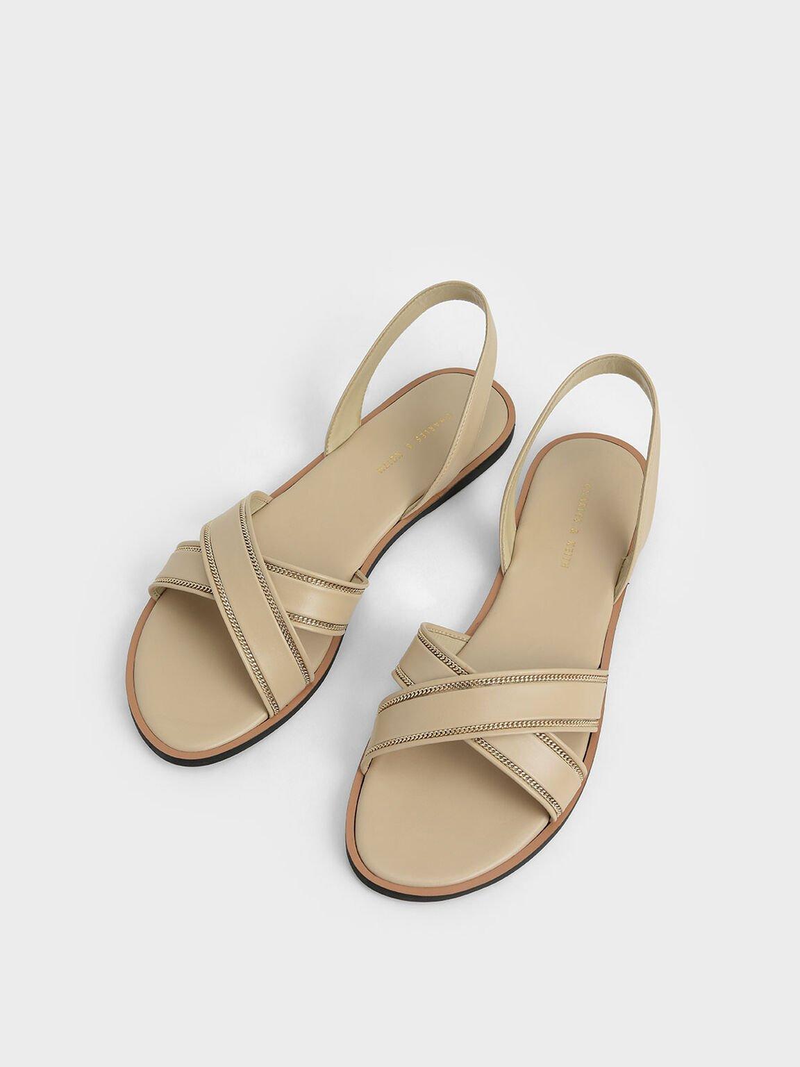 交叉帶涼鞋, 米黃色, hi-res