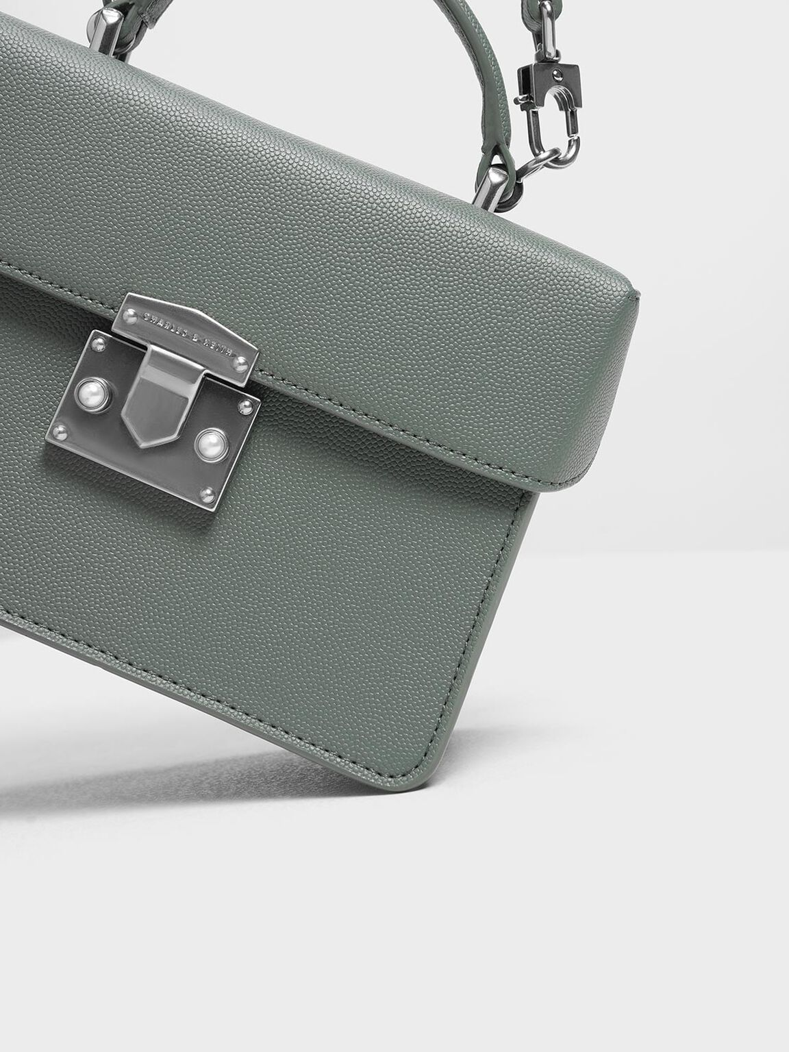 Classic Push Lock Top Handle Bag, Moss, hi-res