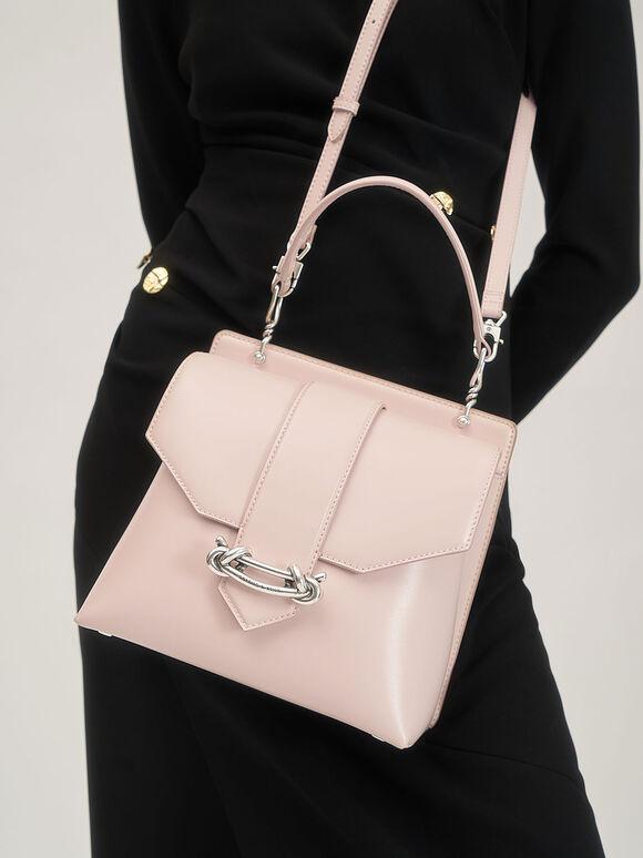 扭結釦手提包, 淺粉色, hi-res