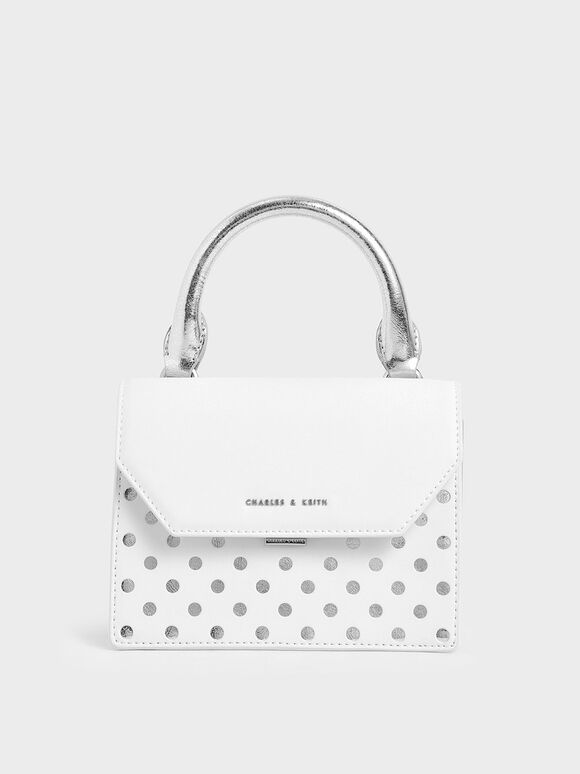 Laser-Cut Small Top Handle Bag, White, hi-res