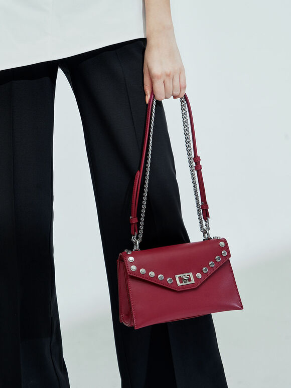 Studded Crossbody Bag, Berry, hi-res