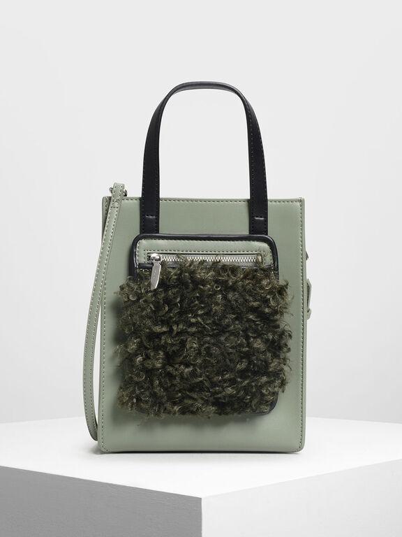 Zipper Compartment Tote Bag, Sage Green