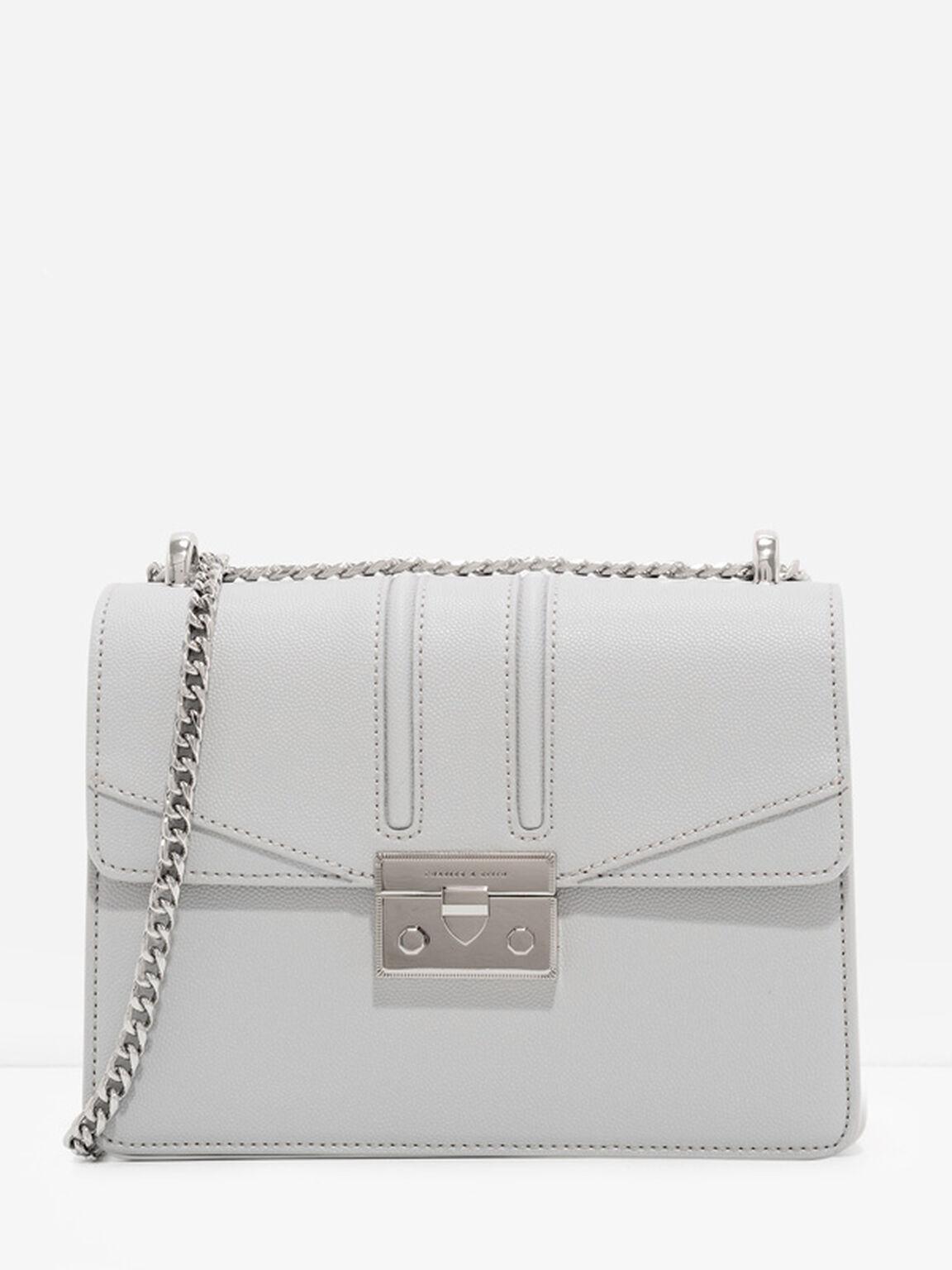 Metallic Accent Chain Strap Shoulder Bag, Light Grey, hi-res