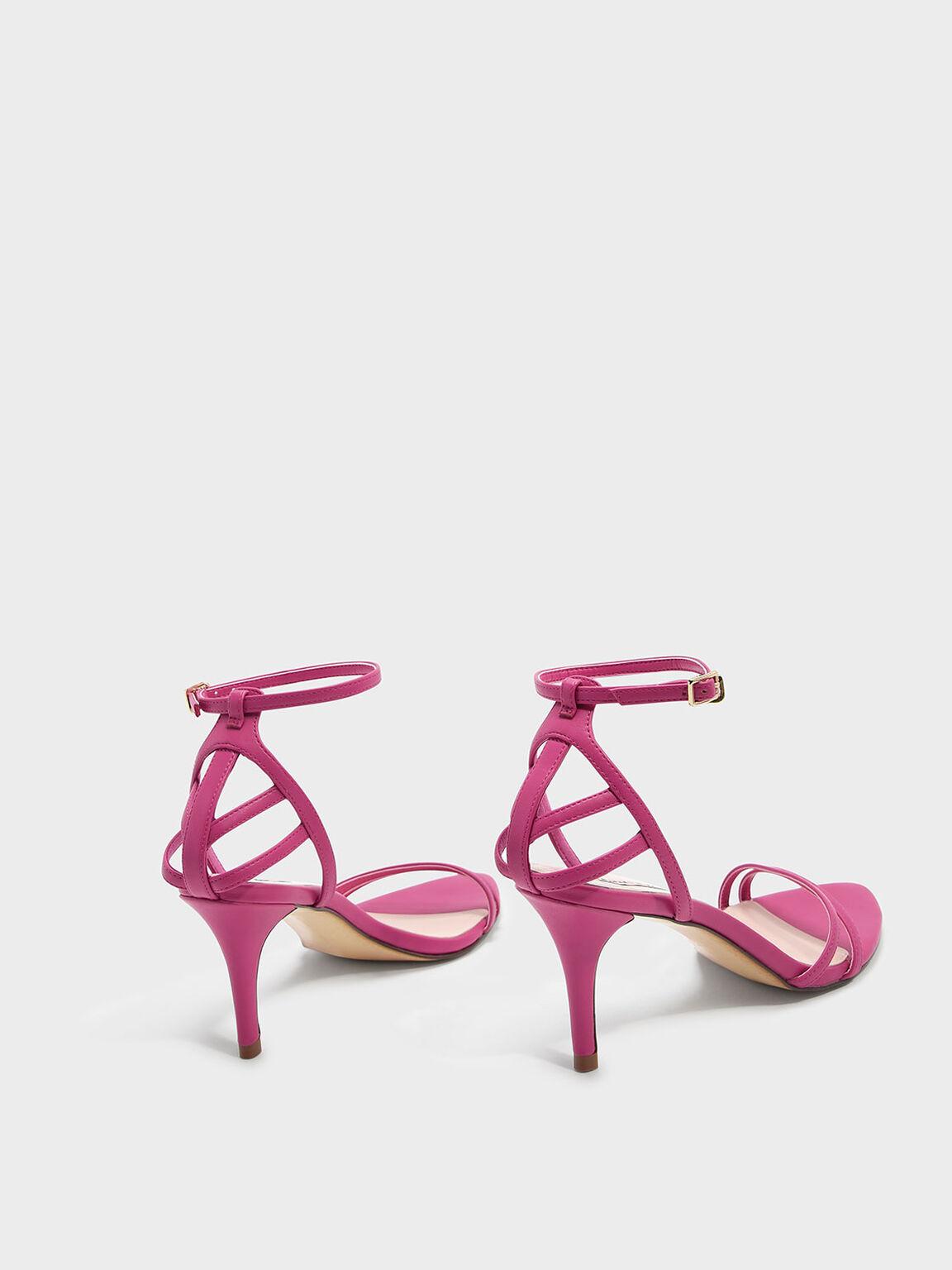 Asymmetrical Strappy Stilettos, Pink, hi-res