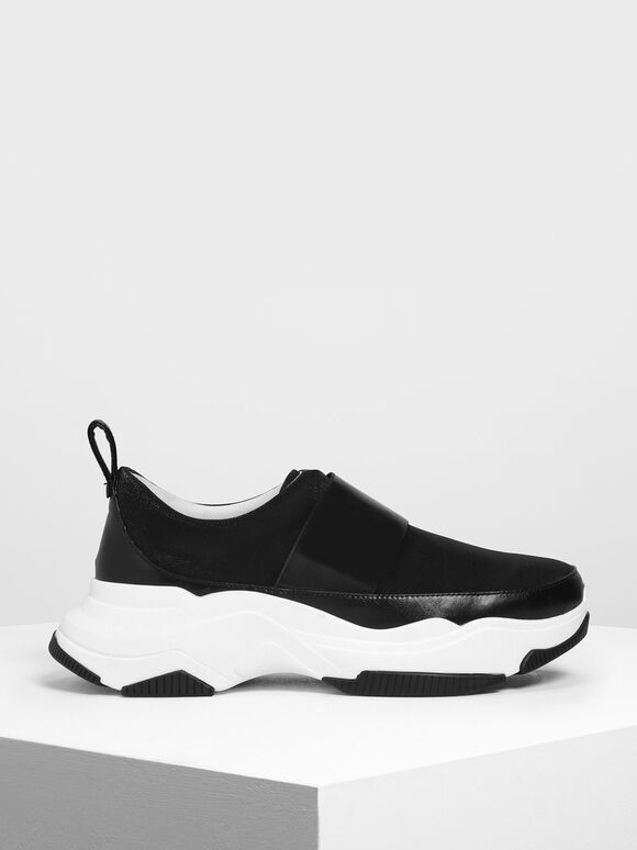 Chunky Slip-On Sneakers, Black, hi-res
