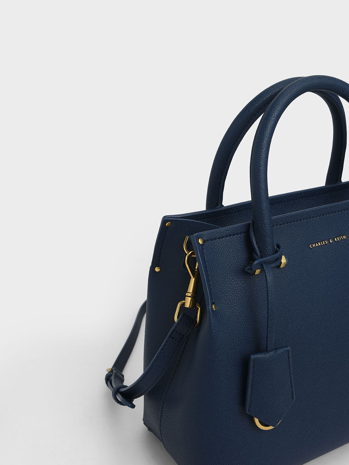 Double Handle Structured Tote Bag, Dark Blue, hi-res