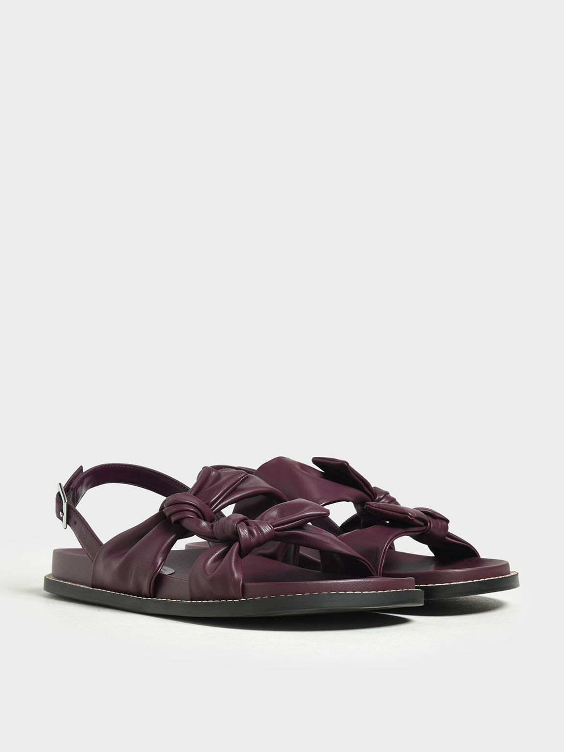 Double Knotted Slingback Sandals, Prune, hi-res
