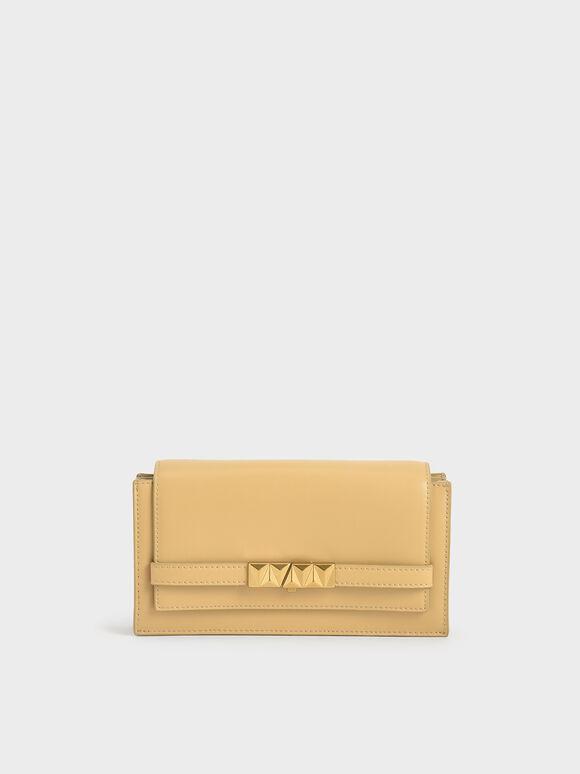 Metallic Push-Lock Wallet, Yellow, hi-res