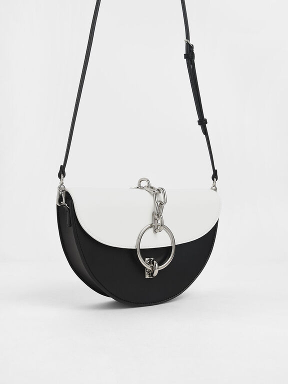 Two-Tone Half-Moon Bracelet Bag, White, hi-res