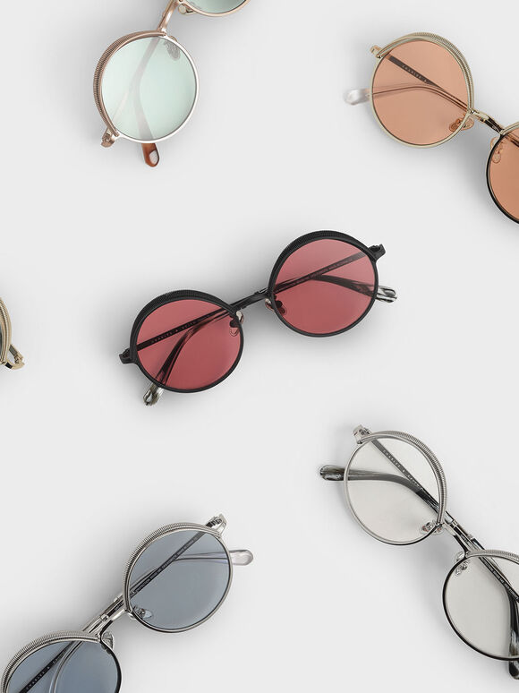 Half Rim Round Sunglasses, Red, hi-res