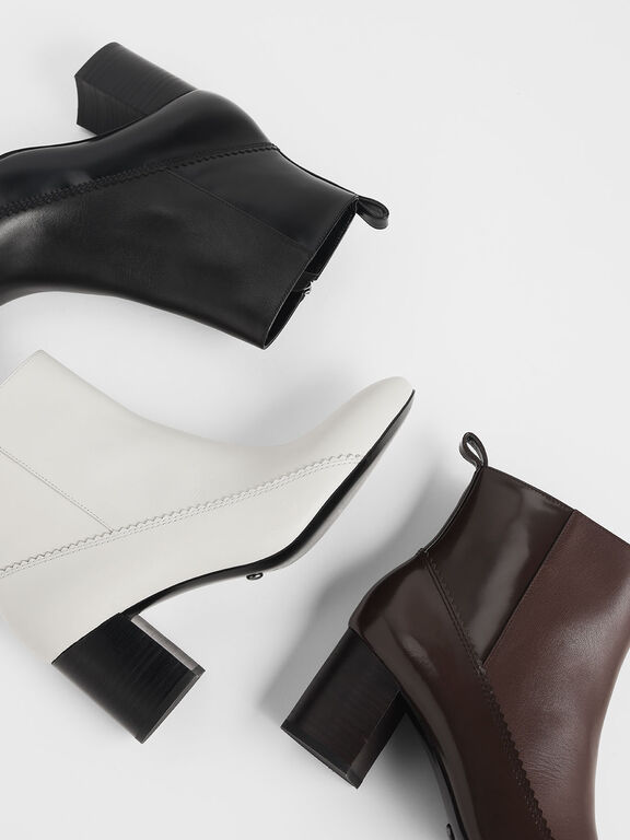 Zigzag Detail Zip-Up Leather Ankle Boots, Chalk