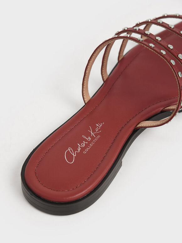 Studded Leather Flat Sandals, Brick, hi-res