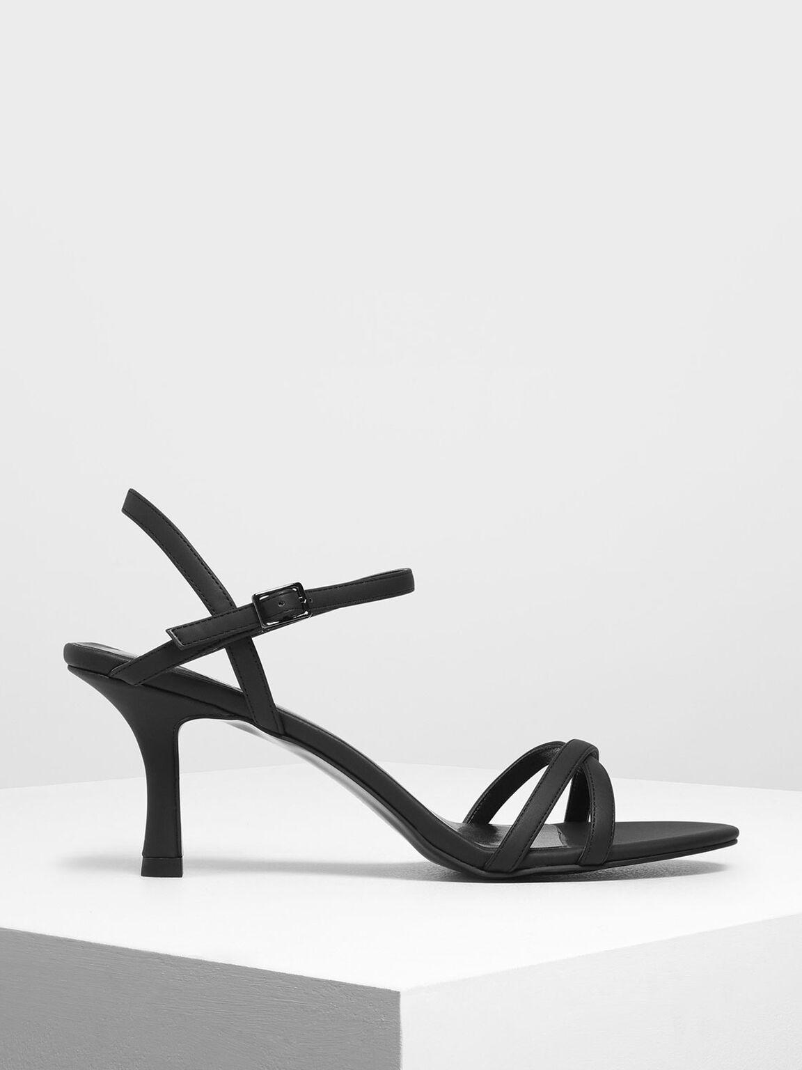 Criss Cross Blade Heel Sandals, Black, hi-res