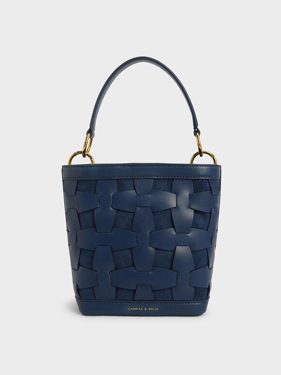 Weave Detail Bucket Bag, Blue, hi-res