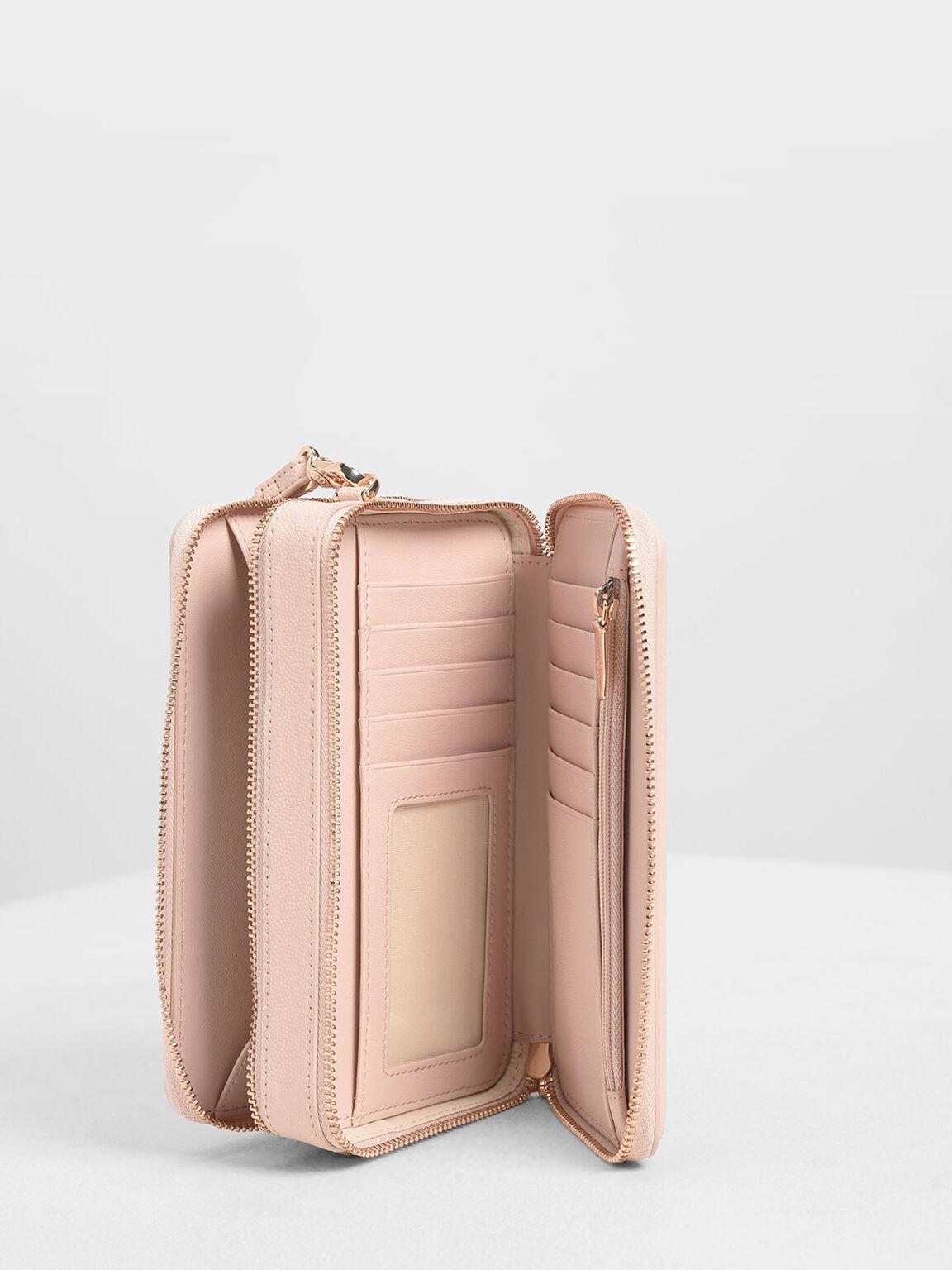 Quilted Long Zipper Wallet, Pink, hi-res