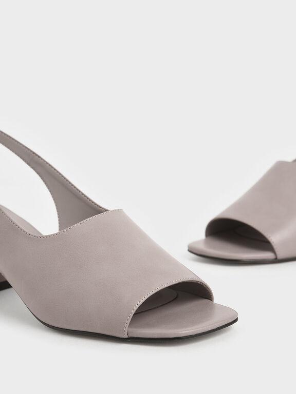 Slingback Block heels, Nude, hi-res