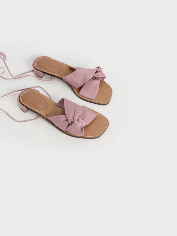 Knotted Tie-Around Sandals, Pink, hi-res