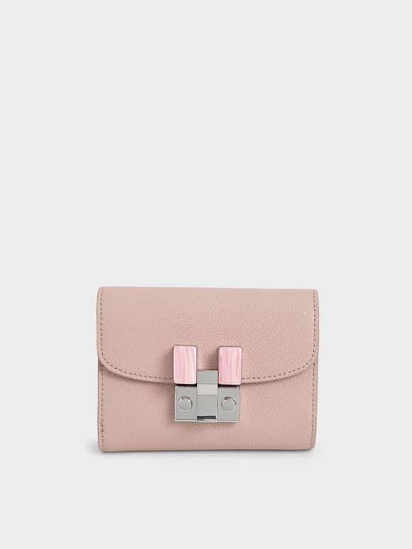 Stone-Embellished Mini Wallet, Pink, hi-res