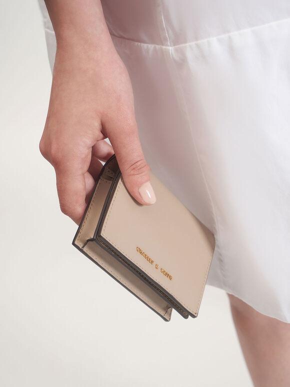 子母扣摺疊短夾, 沙黃色, hi-res