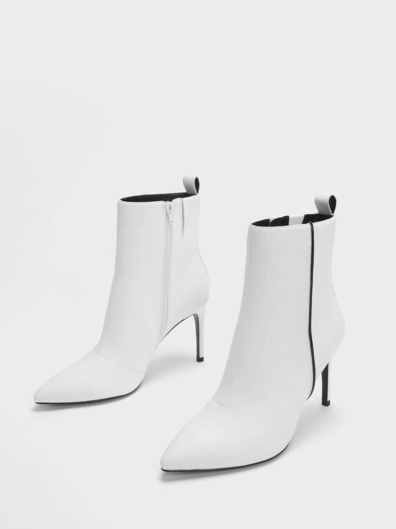 Two-Tone Pointed Toe Stiletto Heel Calf Boots, White