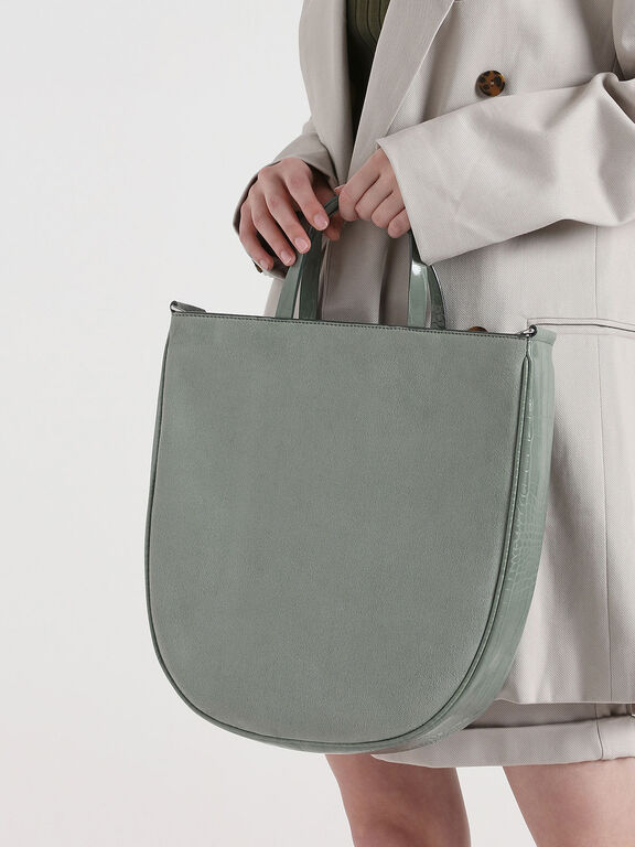 Textured U-Shaped Tote Bag, Sage Green, hi-res