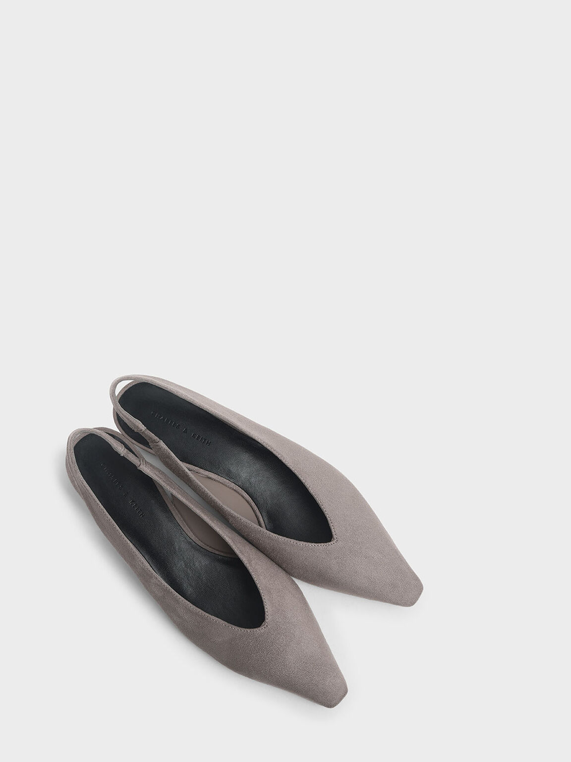 Textured Mini Square Toe Slingback Flats, Taupe, hi-res