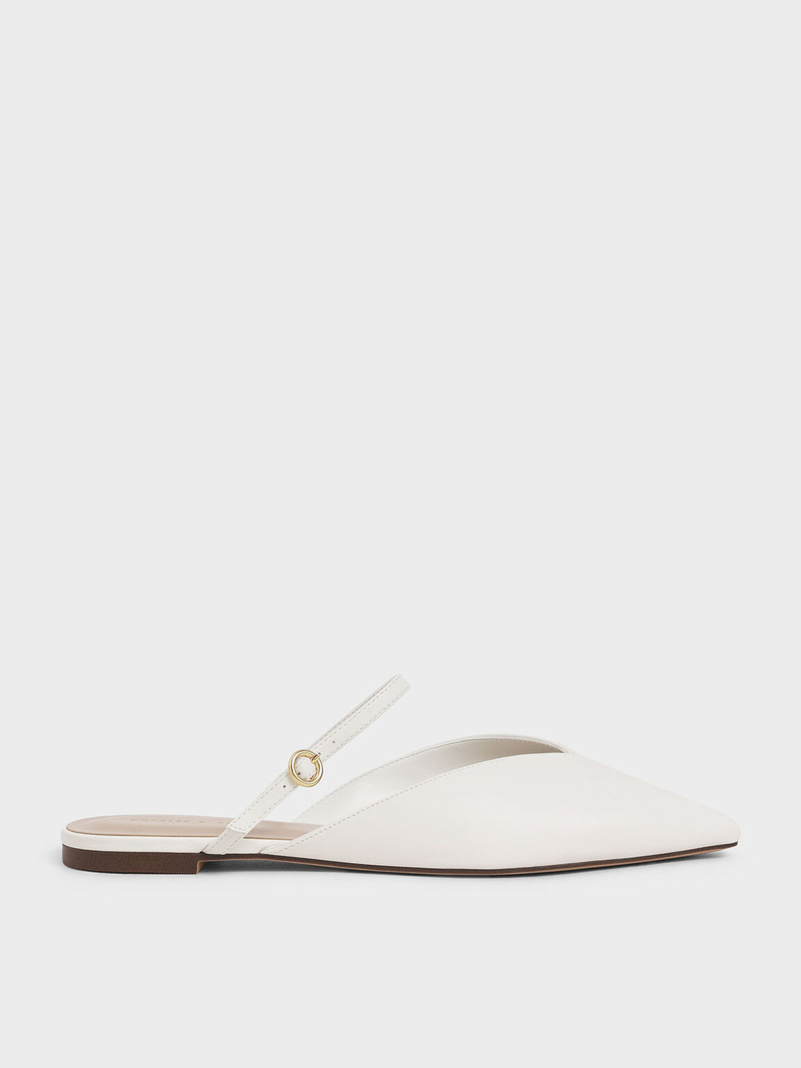 V-Cut Mary Jane Mules, White, hi-res