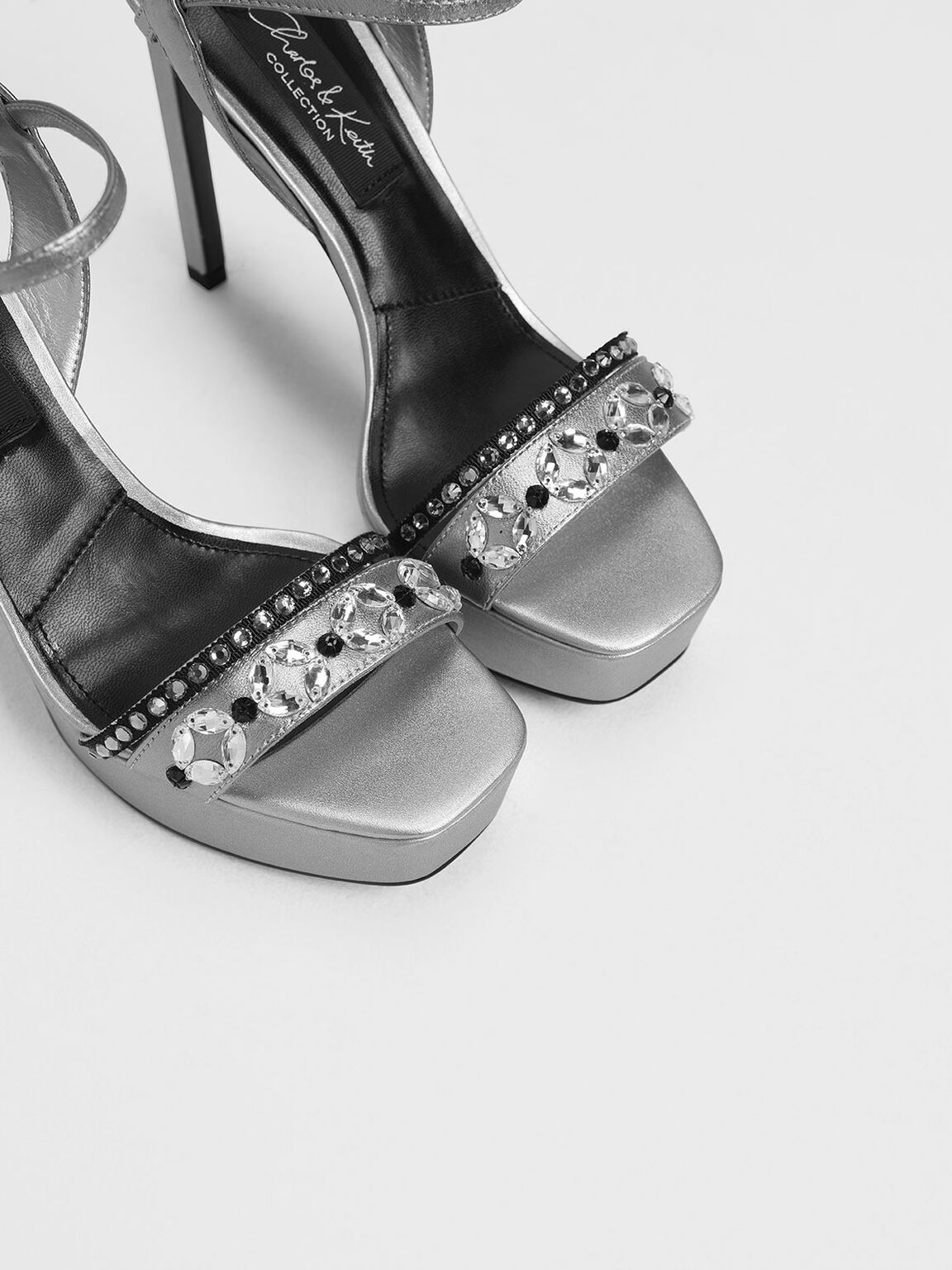Leather Bedazzled Platforms, Silver, hi-res