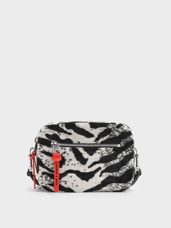 Velvet White Tiger Print Rectangle Crossbody Bag, Multi, hi-res
