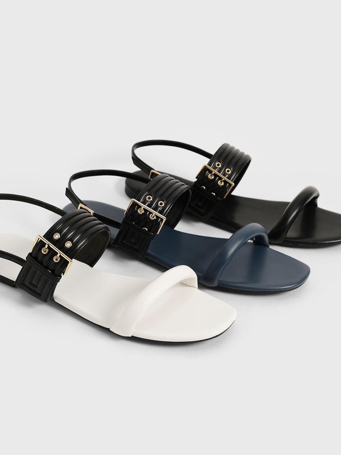 Puffy Grommet Sandals, Black, hi-res