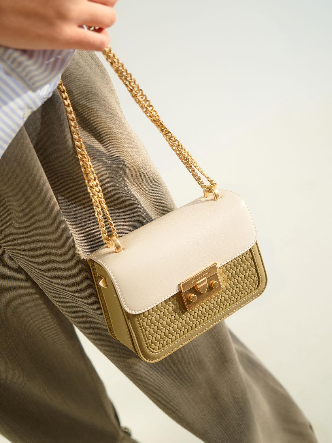 Hong Kong Exclusive: Woven Push-Lock Crossbody Bag, Sage Green, hi-res