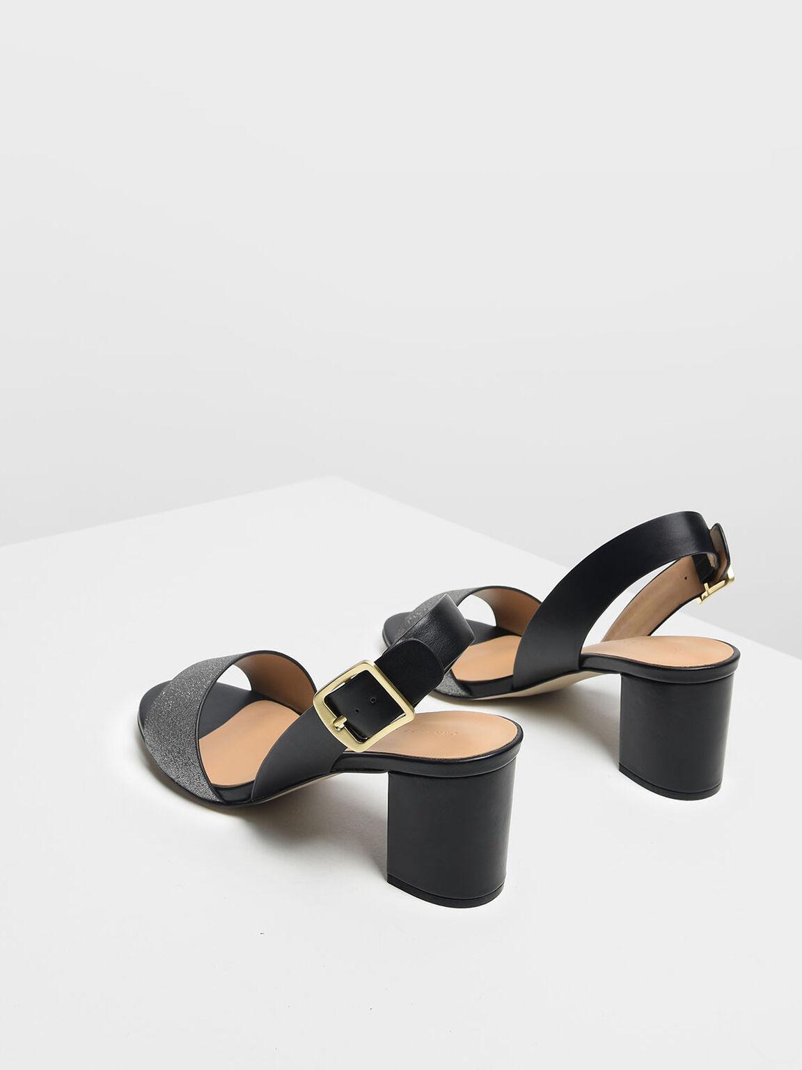 粗跟一字帶涼鞋, 黑色, hi-res