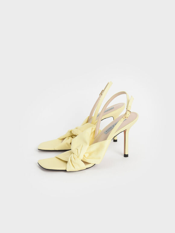 側扭結高跟涼鞋, 黃色, hi-res