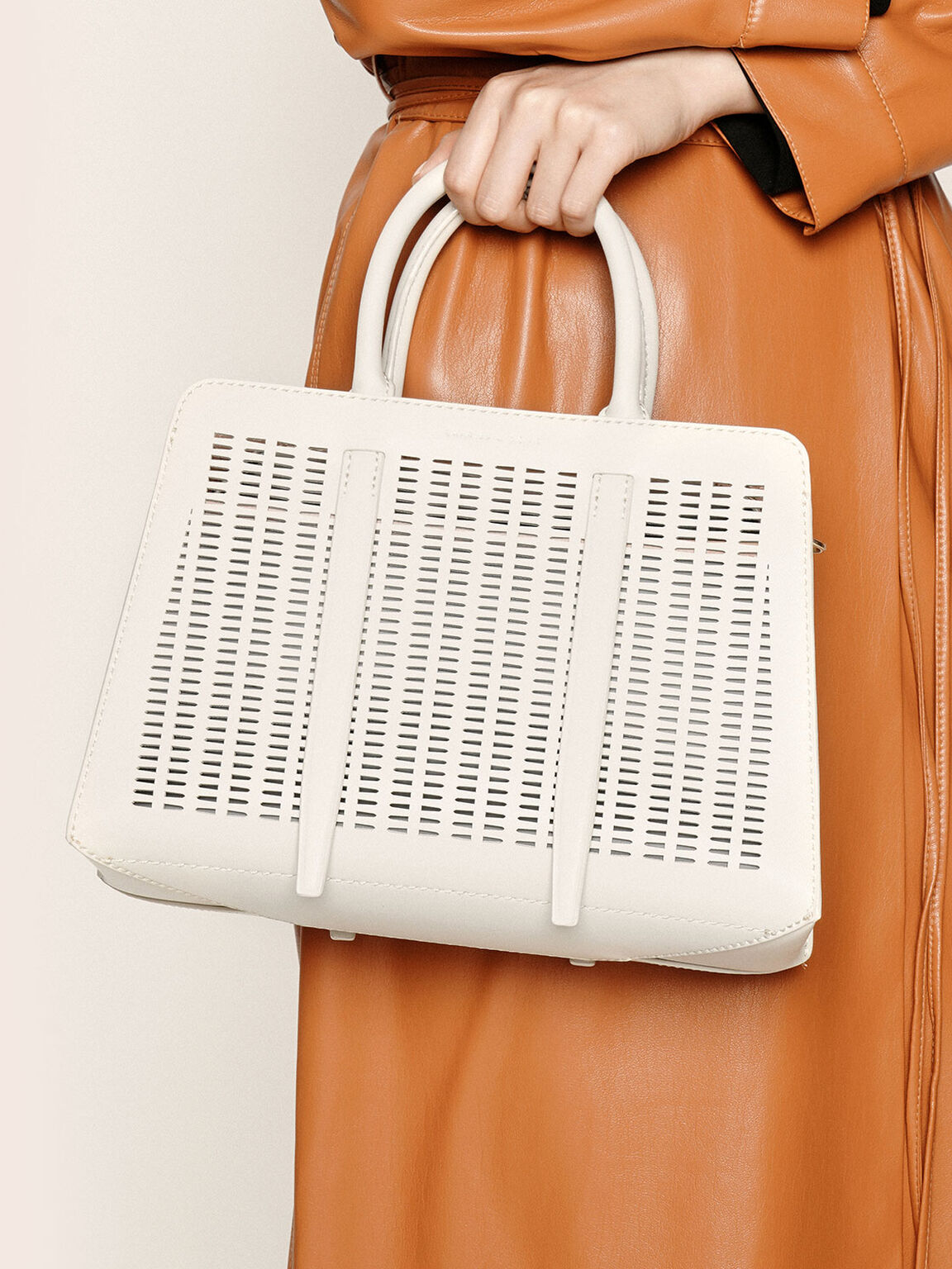 Large Laser-Cut Top Handle bag, Cream, hi-res