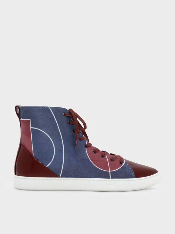Classic High-Top Sneakers, Burgundy, hi-res