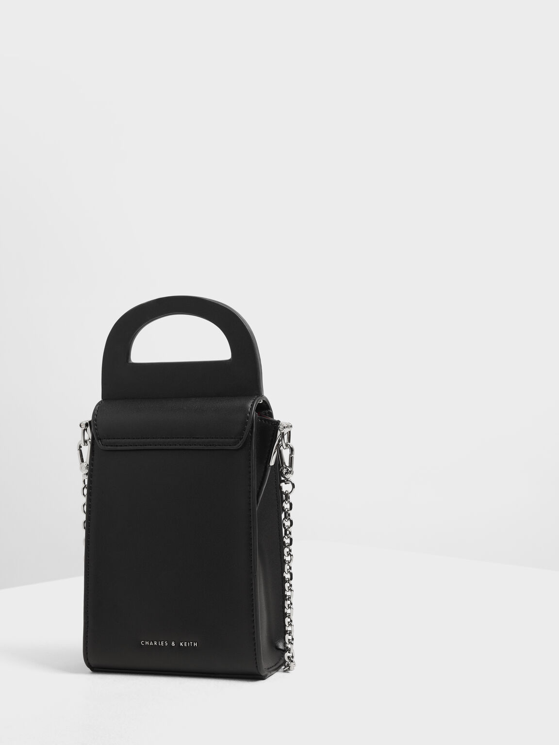 Chunky Buckle Angular Bag, Black, hi-res