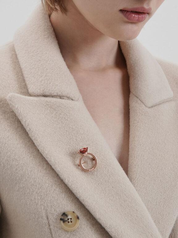 Red Jasper Stone Ring Brooch, Rose Gold, hi-res