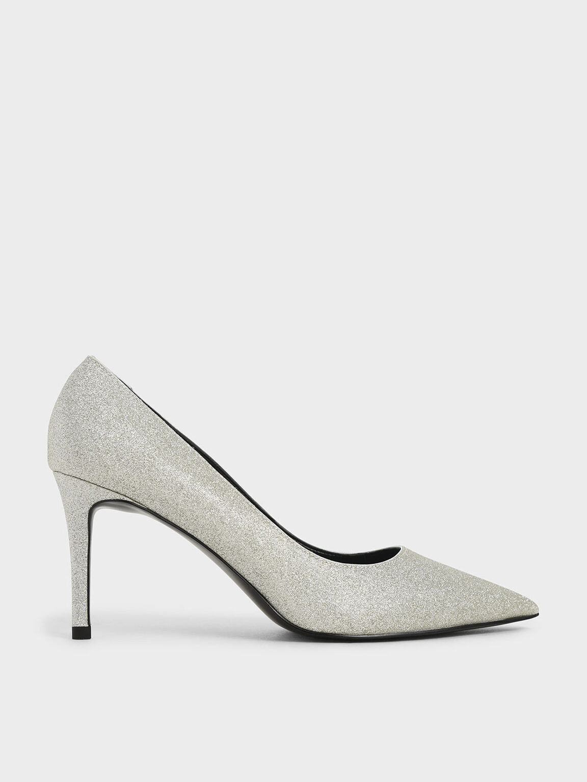 Glitter Pointed Toe Court Shoes, Silver, hi-res