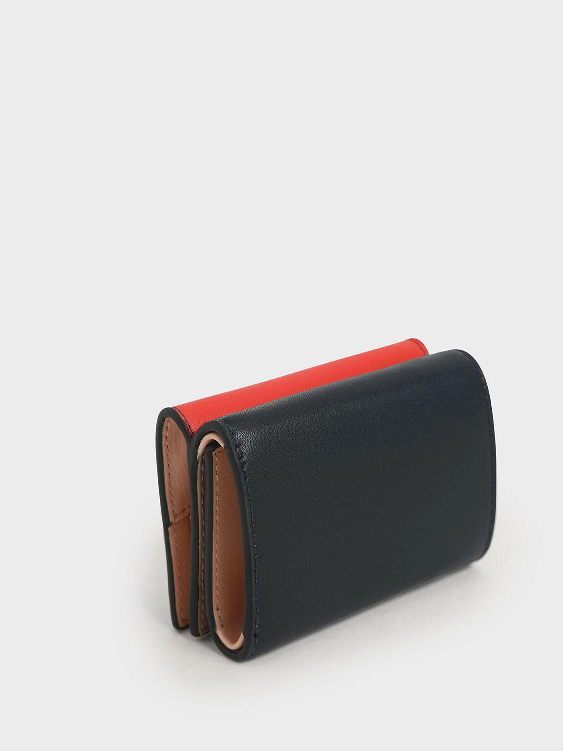 Two-Tone Stitch-Trim Wallet, Teal, hi-res