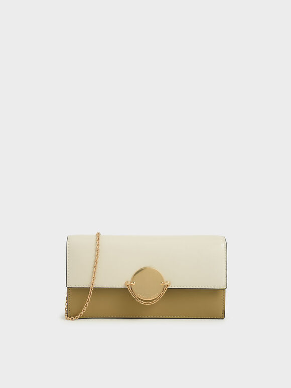 Two-Tone Metallic Push-Lock Wallet, Multi, hi-res