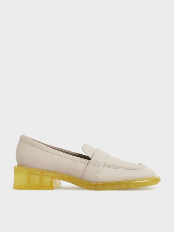 Two-Tone Leather Penny Loafers, Chalk, hi-res