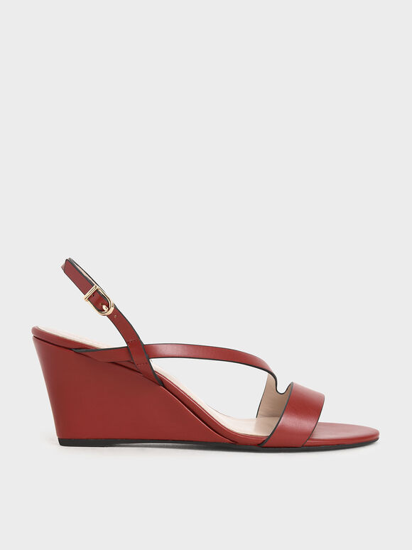 Asymmetric Strap Platform Wedges, Red, hi-res